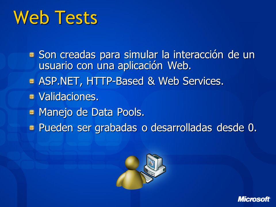 Web Tests Son creadas para simular la interacción de un usuario con una aplicación Web. ASP.NET, HTTP-Based & Web Services.