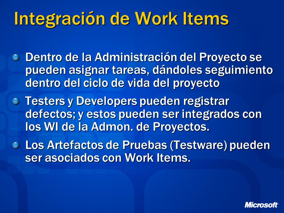 Integración de Work Items