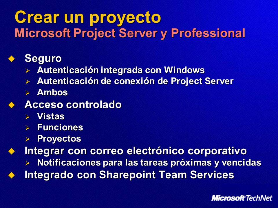 Crear un proyecto Microsoft Project Server y Professional