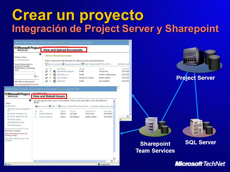 Crear un proyecto Integración de Project Server y Sharepoint
