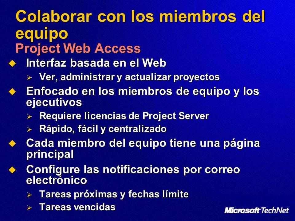 Colaborar con los miembros del equipo Project Web Access