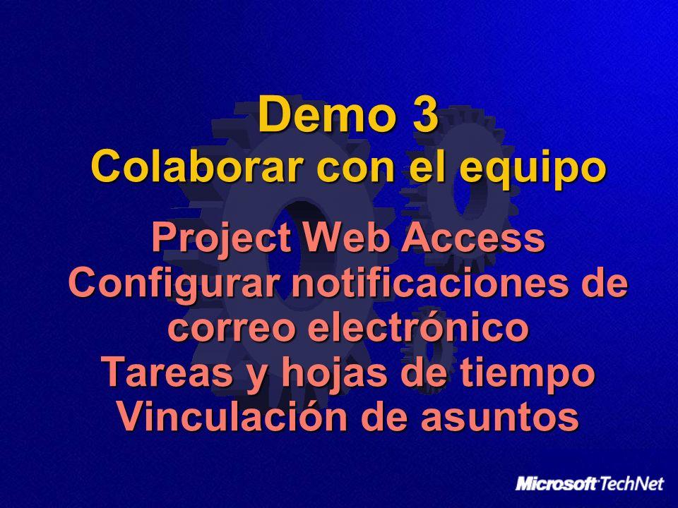 Demo 3 Colaborar con el equipo Project Web Access Configurar notificaciones de correo electrónico Tareas y hojas de tiempo Vinculación de asuntos
