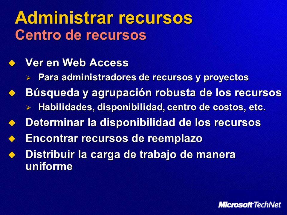 Administrar recursos Centro de recursos