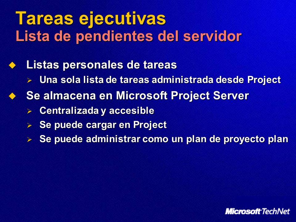 Tareas ejecutivas Lista de pendientes del servidor