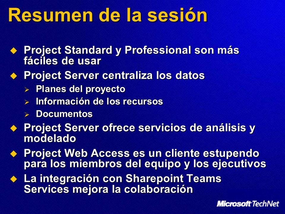 Resumen de la sesión Project Standard y Professional son más fáciles de usar. Project Server centraliza los datos.