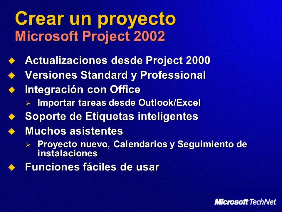 Crear un proyecto Microsoft Project 2002