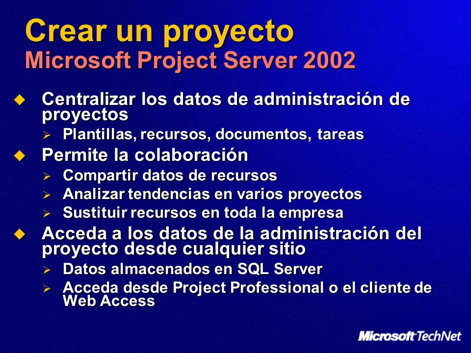 Crear un proyecto Microsoft Project Server 2002