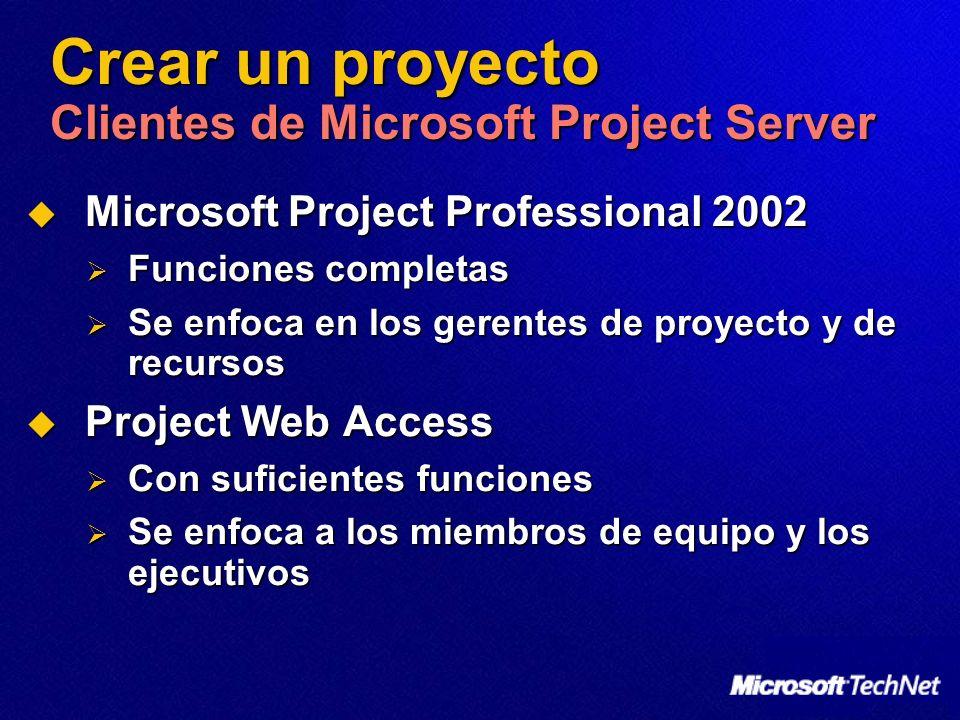 Crear un proyecto Clientes de Microsoft Project Server