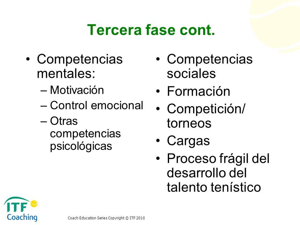 Tercera fase cont. Competencias mentales: Competencias sociales
