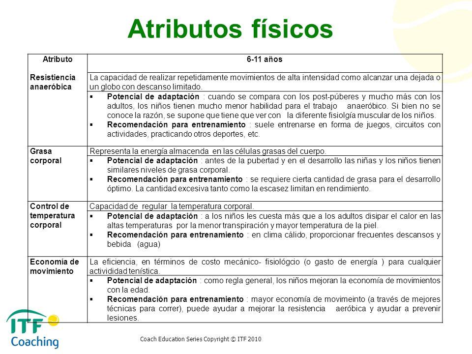 Atributos físicos Atributo 6-11 años Resistiencia anaeróbica