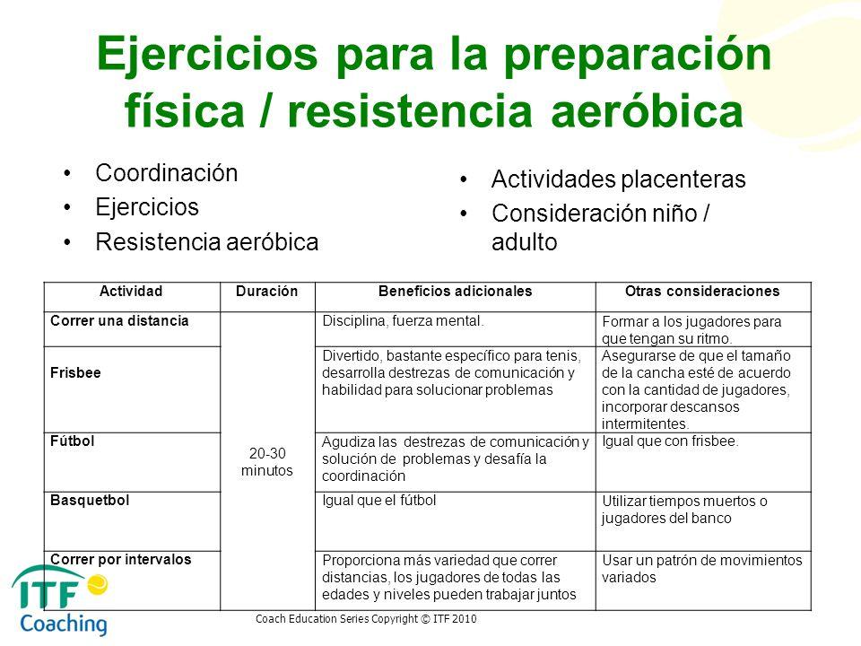 Ejercicios para la preparación física / resistencia aeróbica