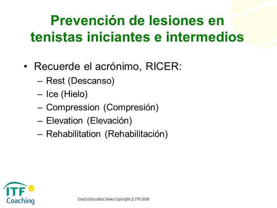 Prevención de lesiones en tenistas iniciantes e intermedios