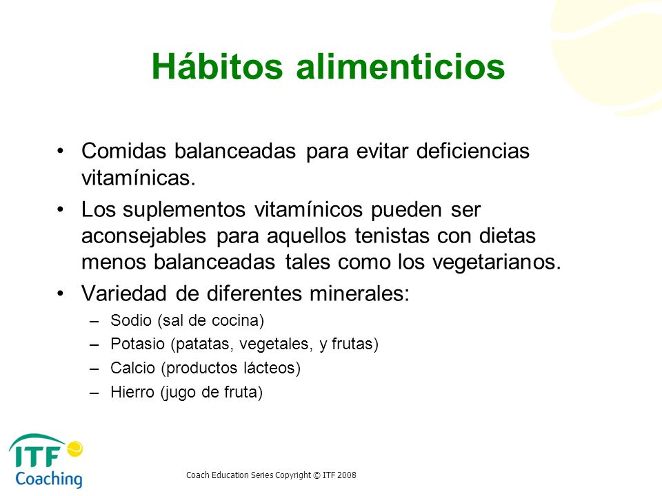 Hábitos alimenticios Comidas balanceadas para evitar deficiencias vitamínicas.