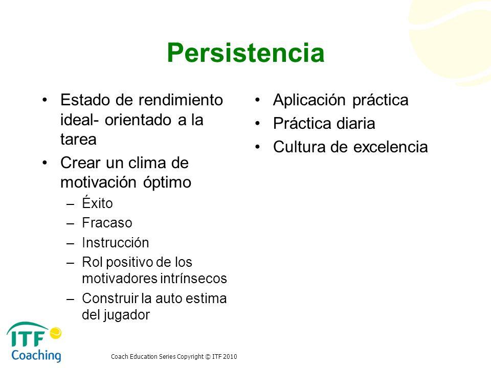 Persistencia Estado de rendimiento ideal- orientado a la tarea
