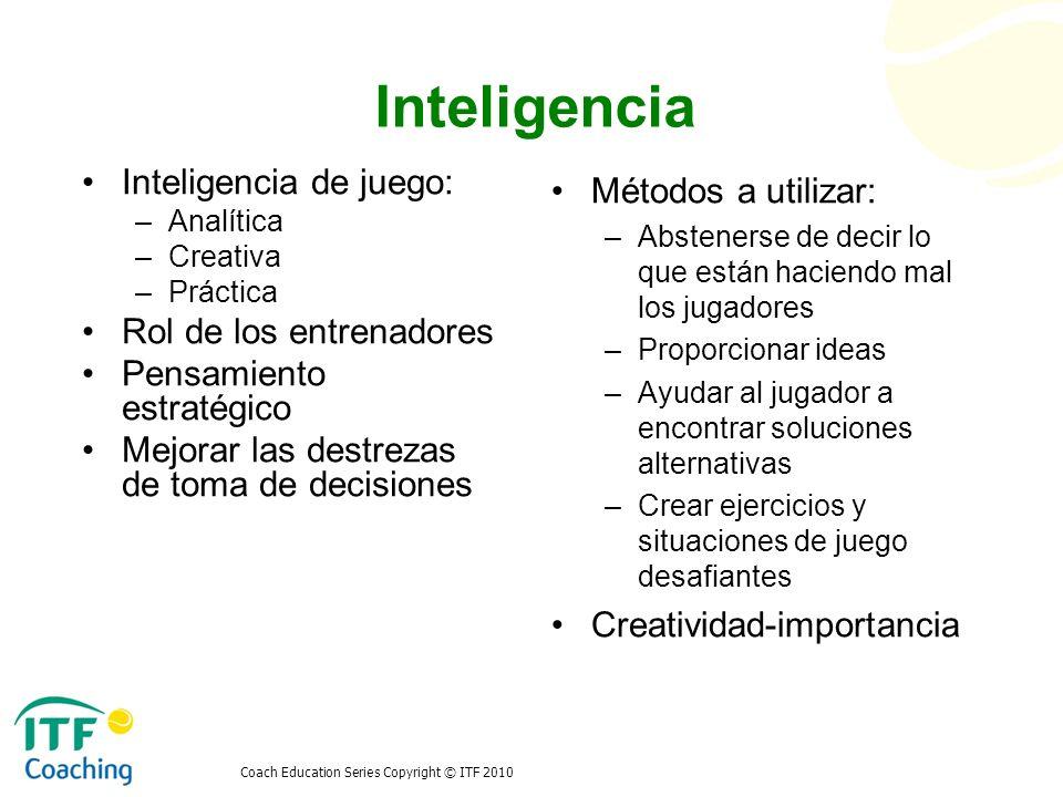 Inteligencia Inteligencia de juego: Rol de los entrenadores