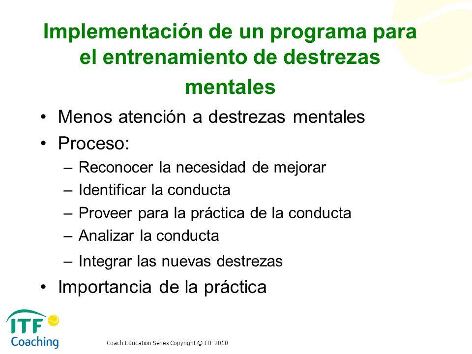 Implementación de un programa para el entrenamiento de destrezas mentales
