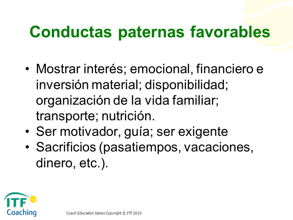 Conductas paternas favorables