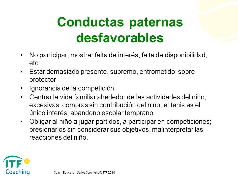 Conductas paternas desfavorables