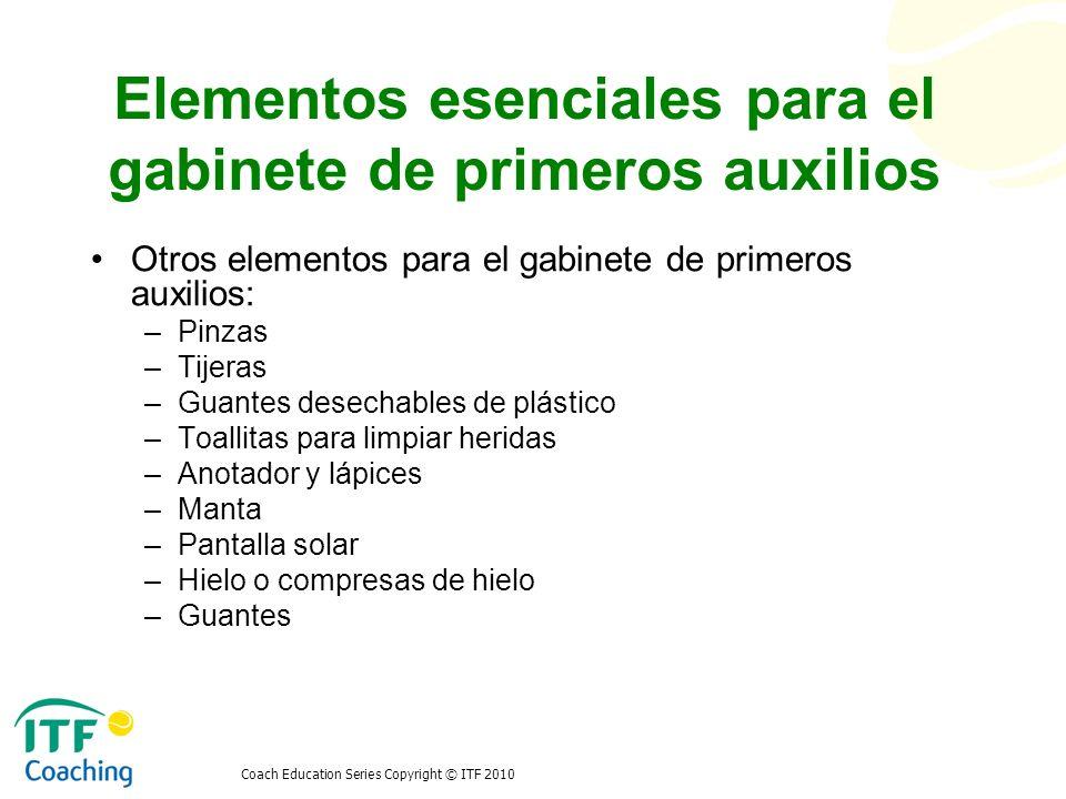 Elementos esenciales para el gabinete de primeros auxilios