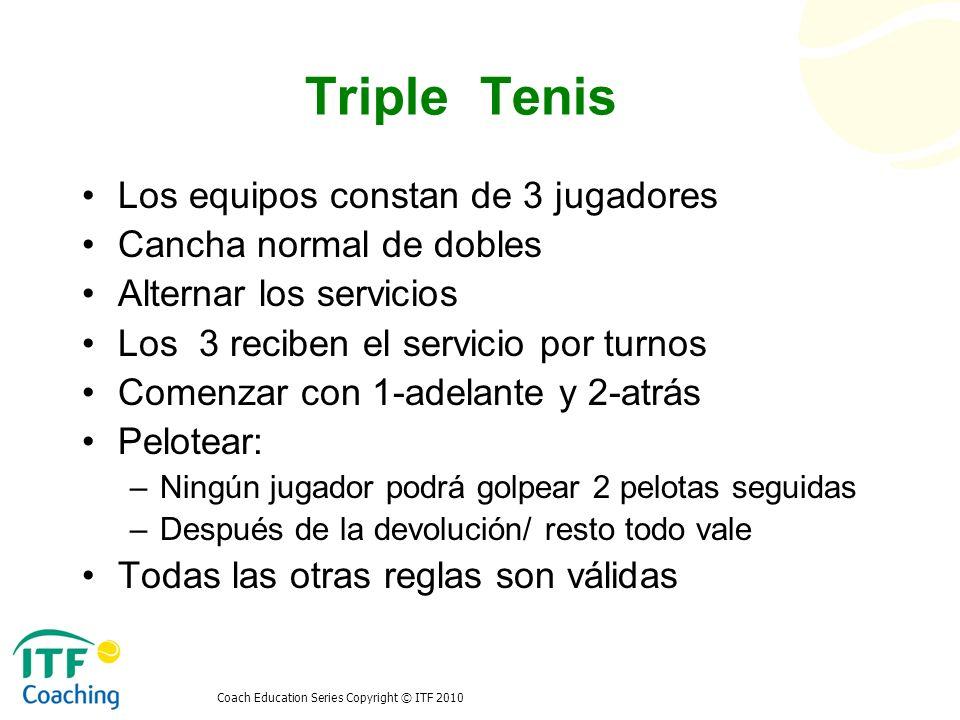 Triple Tenis Los equipos constan de 3 jugadores