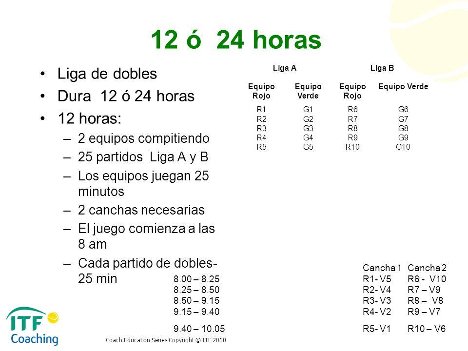 12 ó 24 horas Liga de dobles Dura 12 ó 24 horas 12 horas: