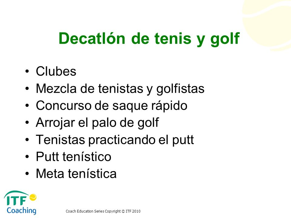 Decatlón de tenis y golf