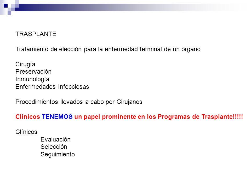 TRASPLANTE Tratamiento de elección para la enfermedad terminal de un órgano. Cirugía. Preservación.