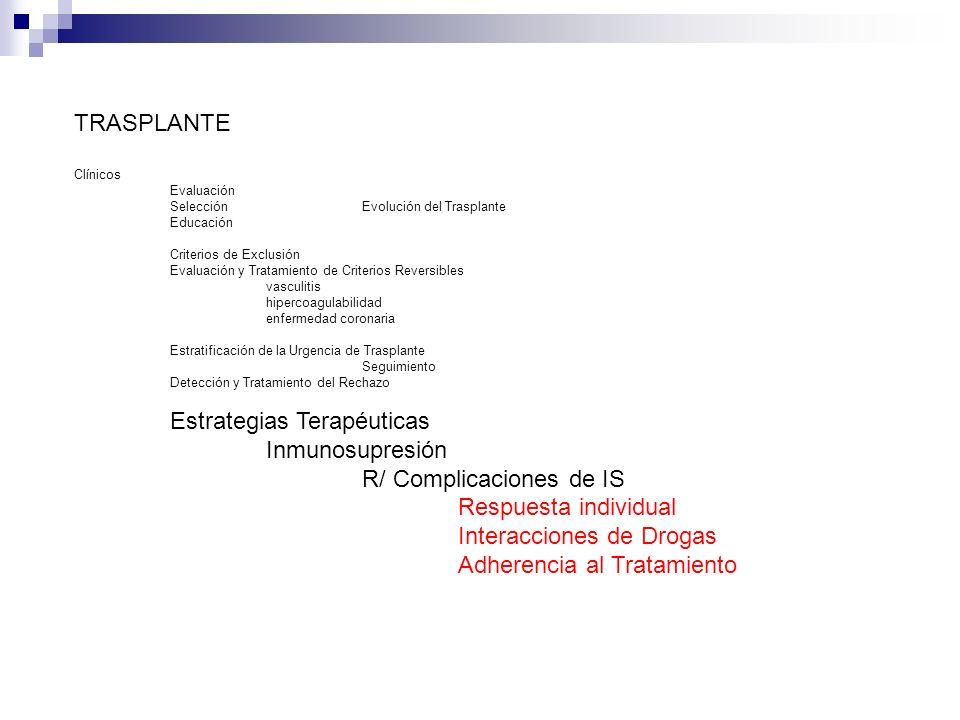 Estrategias Terapéuticas Inmunosupresión R/ Complicaciones de IS