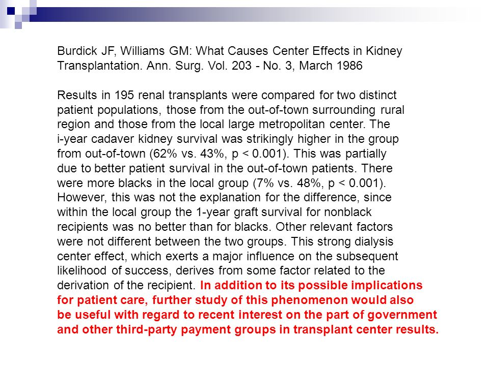 Burdick JF, Williams GM: What Causes Center Effects in Kidney Transplantation. Ann. Surg. Vol. 203 - No. 3, March 1986