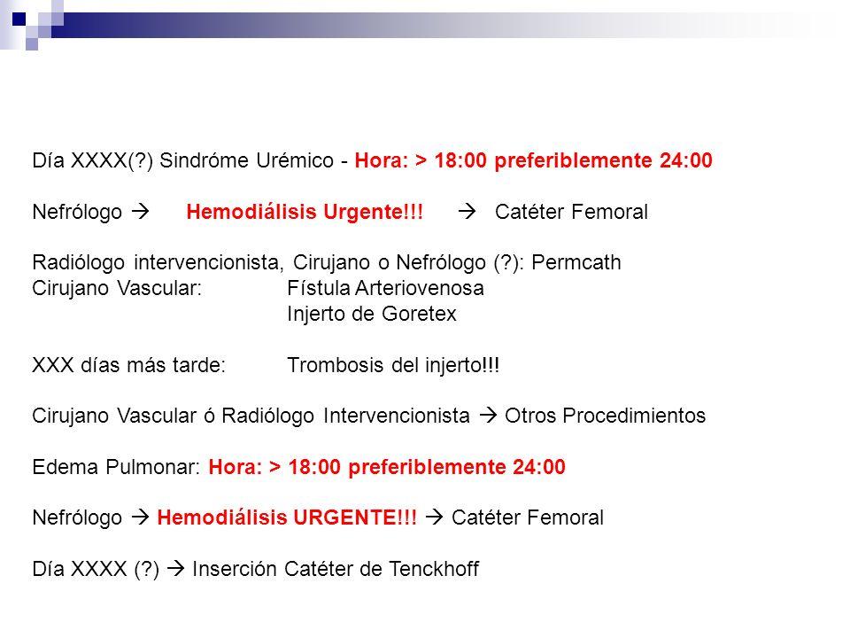 Día XXXX( ) Sindróme Urémico - Hora: > 18:00 preferiblemente 24:00