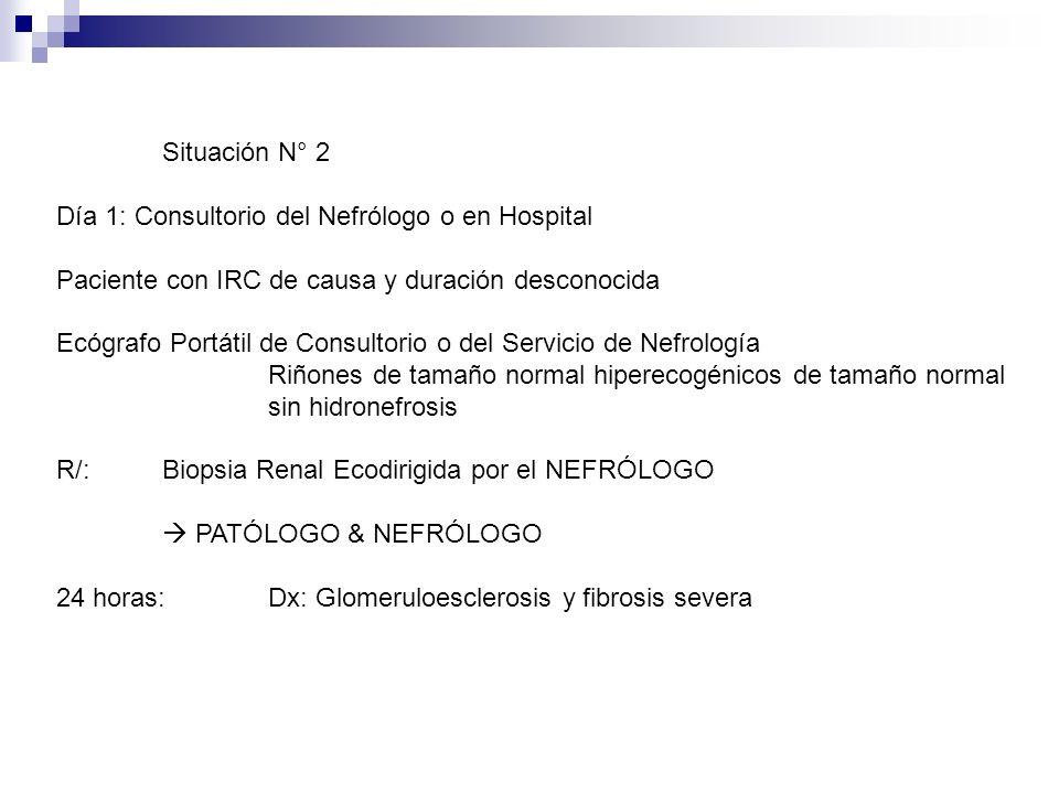 Situación N° 2 Día 1: Consultorio del Nefrólogo o en Hospital. Paciente con IRC de causa y duración desconocida.