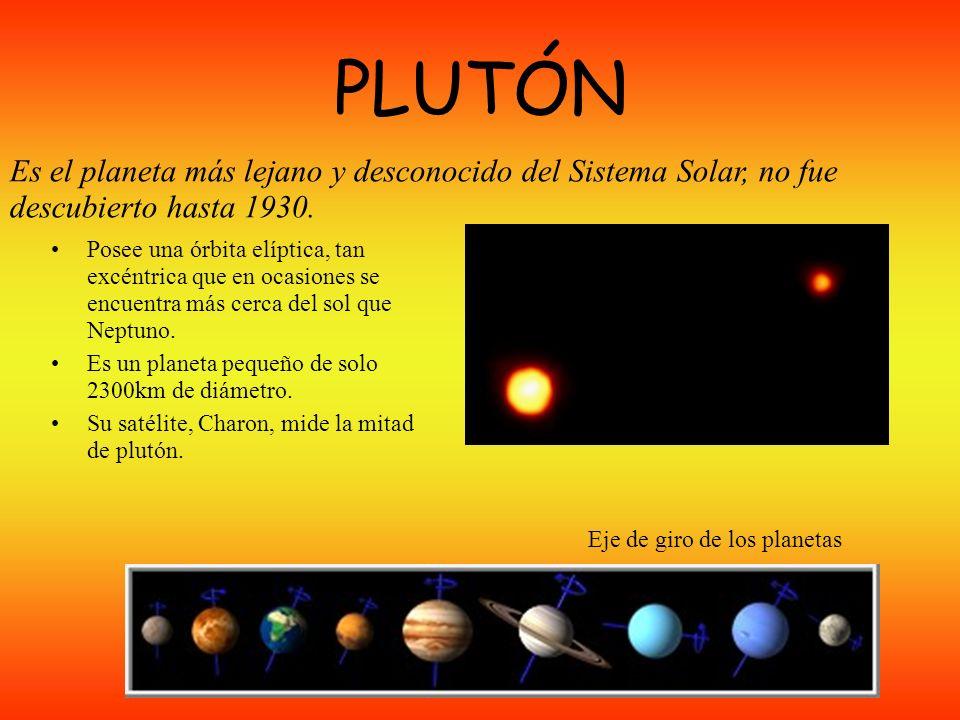PLUTÓN Es el planeta más lejano y desconocido del Sistema Solar, no fue descubierto hasta 1930.