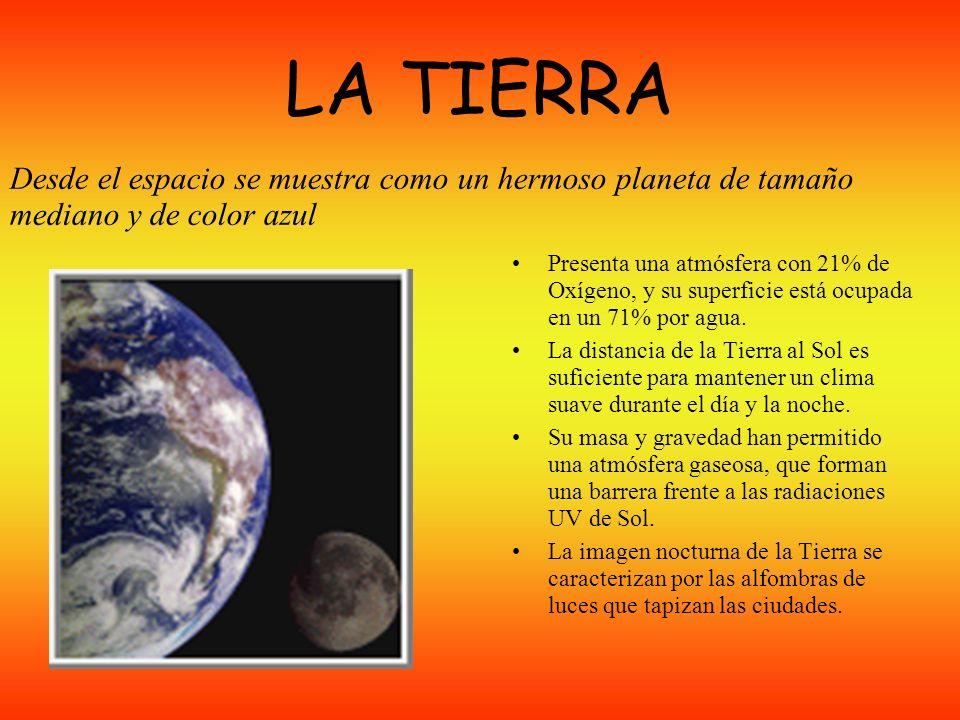 LA TIERRA Desde el espacio se muestra como un hermoso planeta de tamaño mediano y de color azul.