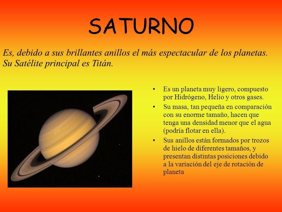SATURNO Es, debido a sus brillantes anillos el más espectacular de los planetas. Su Satélite principal es Titán.