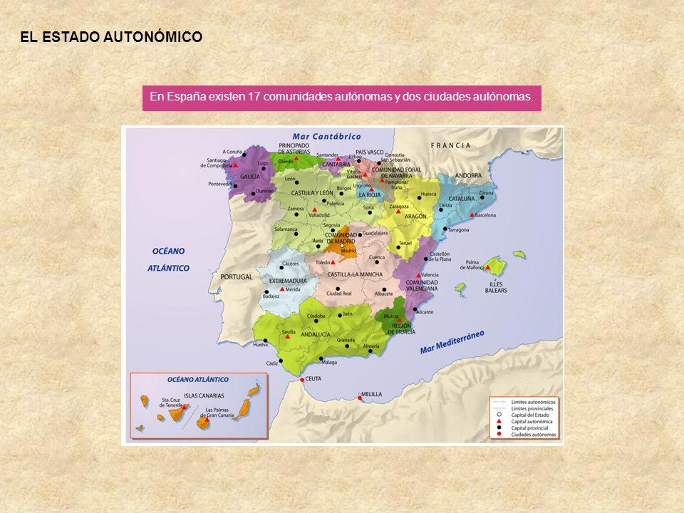 EL ESTADO AUTONÓMICO En España existen 17 comunidades autónomas y dos ciudades autónomas.
