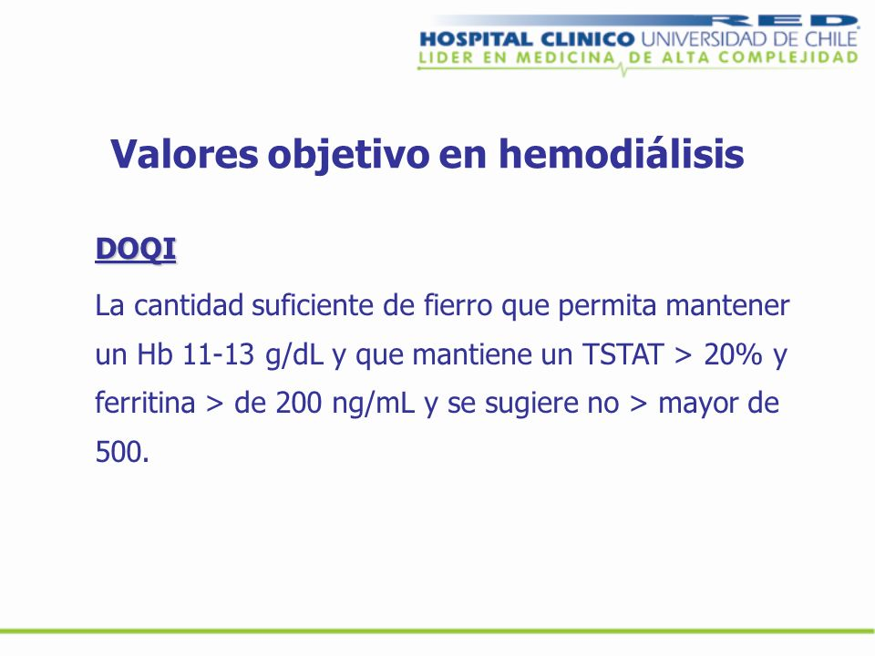 Valores objetivo en hemodiálisis