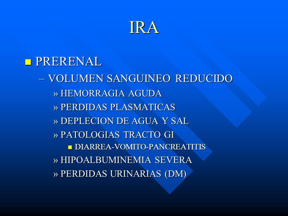 IRA PRERENAL VOLUMEN SANGUINEO REDUCIDO HEMORRAGIA AGUDA