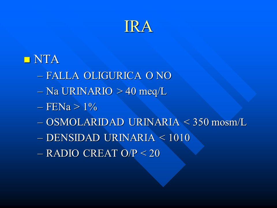 IRA NTA FALLA OLIGURICA O NO Na URINARIO > 40 meq/L FENa > 1%