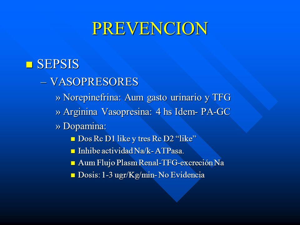 PREVENCION SEPSIS VASOPRESORES Norepinefrina: Aum gasto urinario y TFG