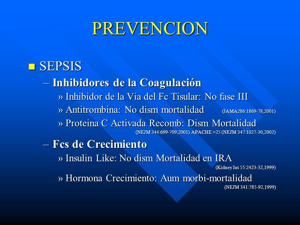 PREVENCION SEPSIS Inhibidores de la Coagulación Fcs de Crecimiento