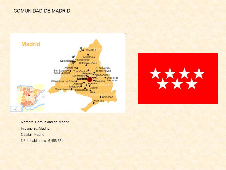 COMUNIDAD DE MADRID Nombre: Comunidad de Madrid Provincias: Madrid