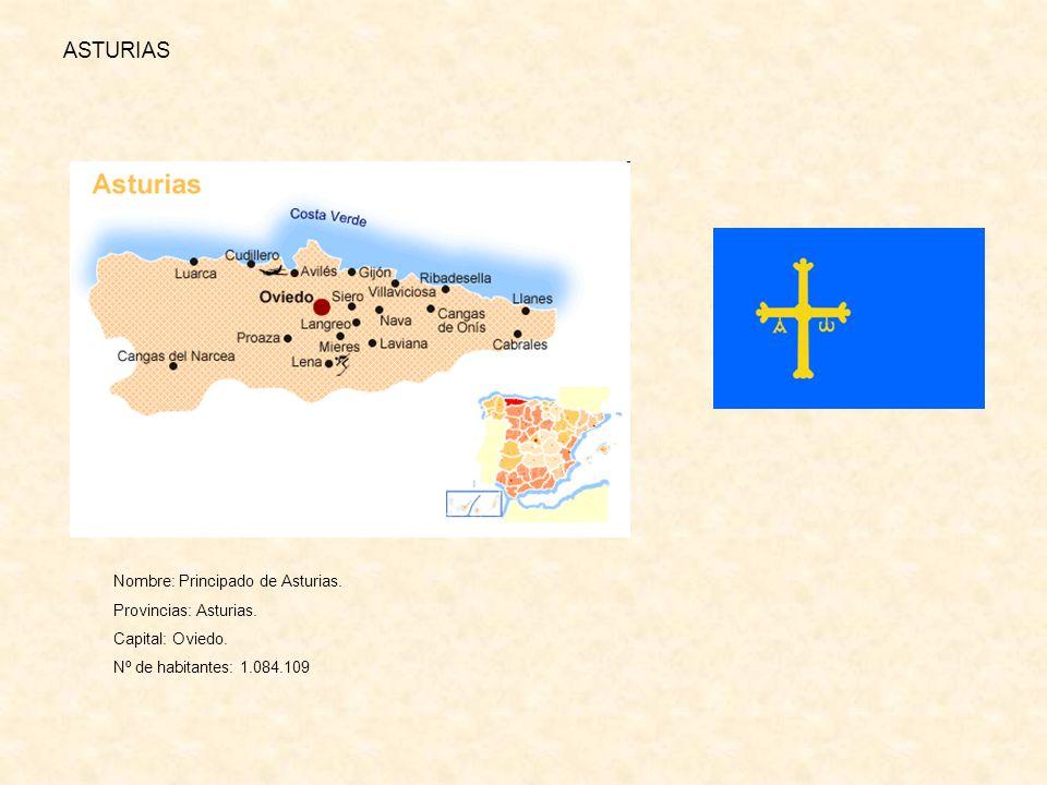 ASTURIAS Nombre: Principado de Asturias. Provincias: Asturias.