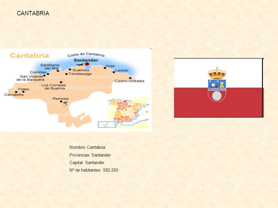 CANTABRIA Nombre: Cantabria Provincias: Santander Capital: Santander