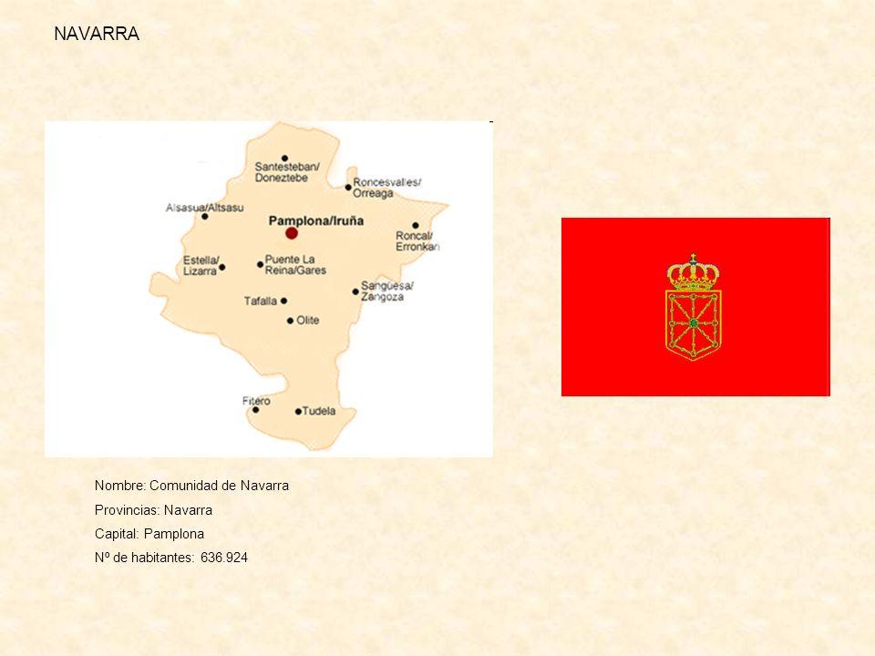 NAVARRA Nombre: Comunidad de Navarra Provincias: Navarra