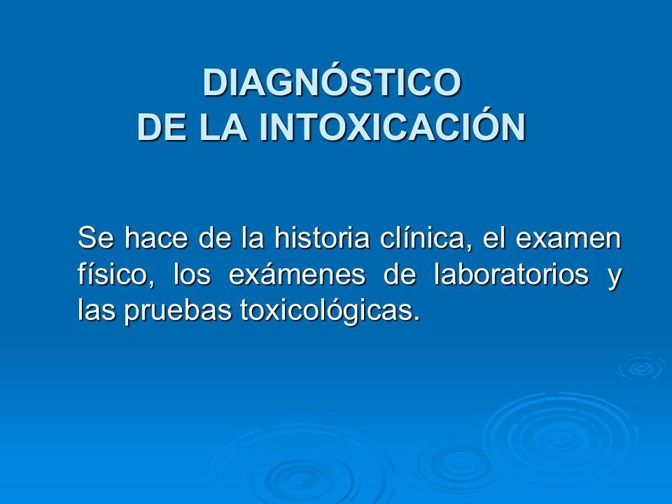 DIAGNÓSTICO DE LA INTOXICACIÓN