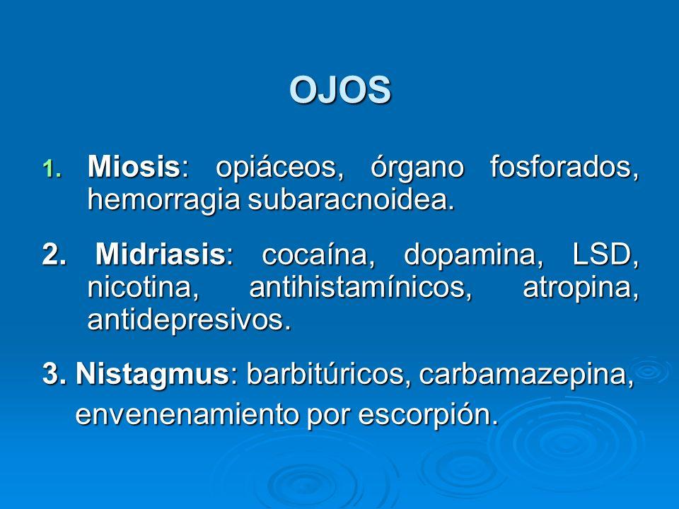 OJOS Miosis: opiáceos, órgano fosforados, hemorragia subaracnoidea.