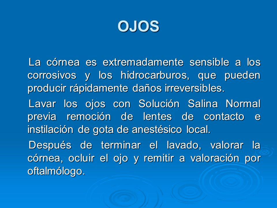 OJOS La córnea es extremadamente sensible a los corrosivos y los hidrocarburos, que pueden producir rápidamente daños irreversibles.