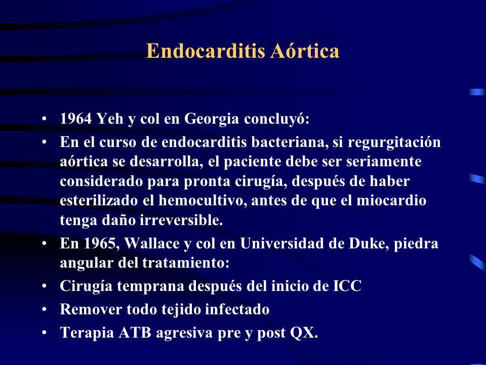 Endocarditis Aórtica 1964 Yeh y col en Georgia concluyó: