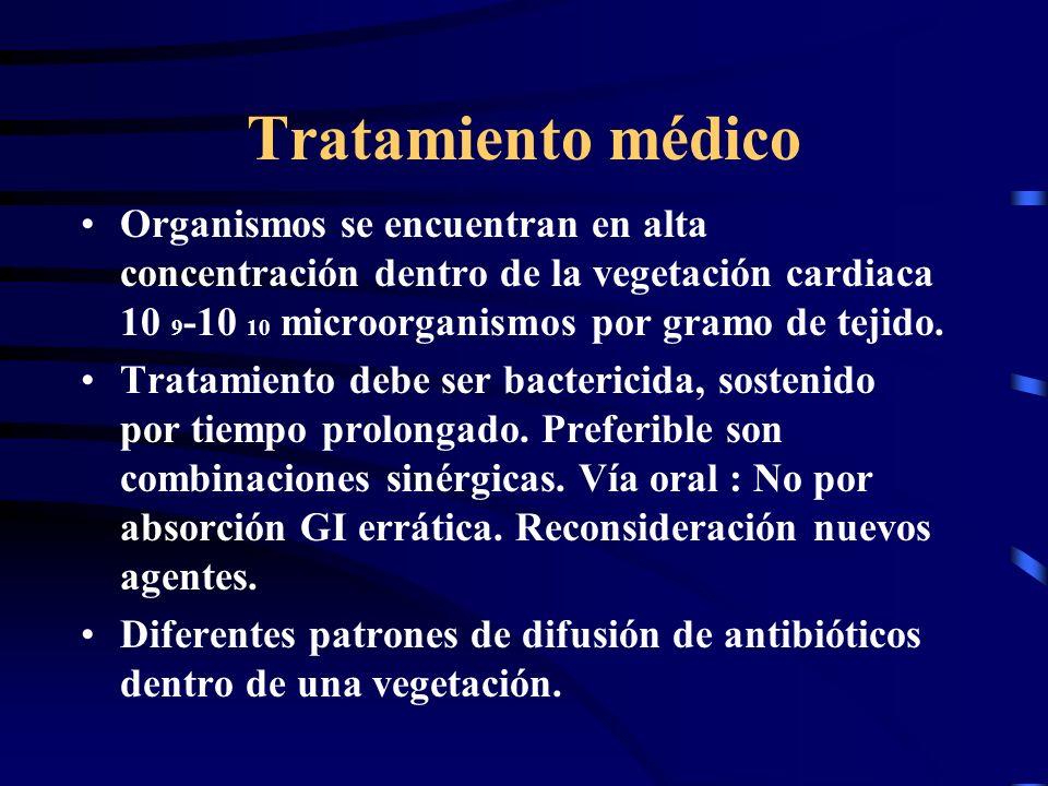 Tratamiento médico Organismos se encuentran en alta concentración dentro de la vegetación cardiaca 10 9-10 10 microorganismos por gramo de tejido.