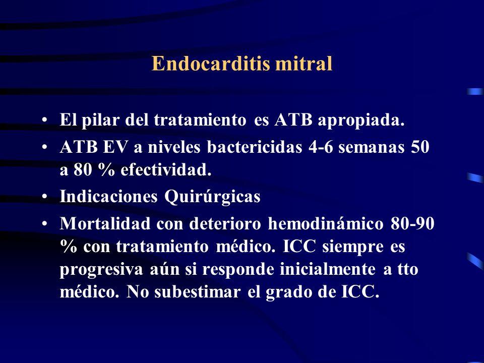 Endocarditis mitral El pilar del tratamiento es ATB apropiada.